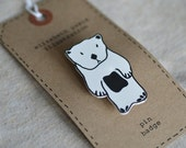 sea otter brooch - by elizabeth pawle - modern design - hand drawn hand cut - illustration pin badge