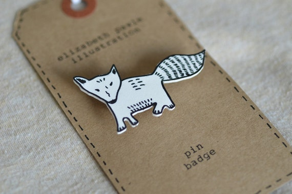 RESERVED LISTING for Christina - fox  cub brooch - by elizabeth pawle - modern design - hand drawn hand cut - illustration pin badge