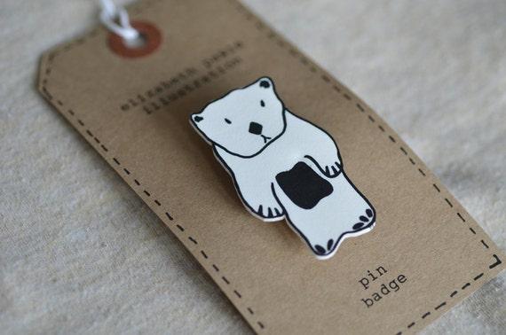 sea otter brooch - by elizabeth pawle - modern design - hand drawn hand cut - illustration pin badge