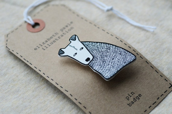 terrier dog brooch - by elizabeth pawle - modern design - hand drawn hand cut - black and white illustration pin badge