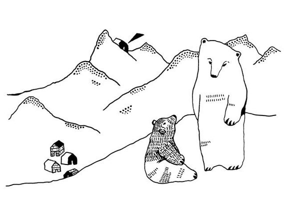 winter day - by elizabeth pawle - limited edition - fine art giclee print of my original black and white bear illustration