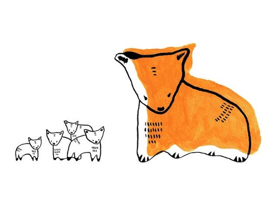 reluctant fox - by elizabeth pawle - limited edition - fine art giclee print of my original illustration in black, white and orange
