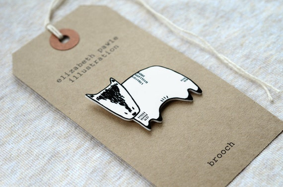 badger brooch - by elizabeth pawle - modern design - hand drawn hand cut - black and white illustration pin badge