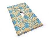 LIght switch cover, yellow and blue switch plate