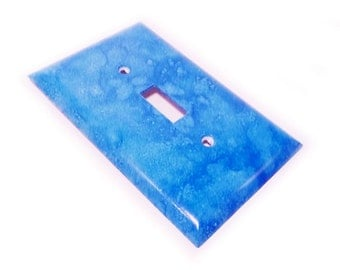 Switch cover - decorative handmade switch wallplate in blue