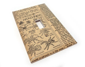 Spider Light switch cover - vintage dictionary switch plate with arachnids