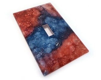 Red and Blue Light Switch Plate - marbled switch cover