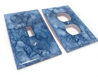 Blue switch cover with outlet cover- sodalite blue faux marble light switch plate