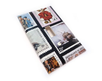 Light switch cover - vintage stamps switch plate