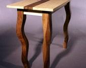Wavy Legged End Table- Maple and Mahogany