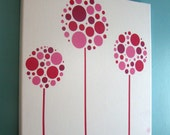 RESERVED for DANA Modern Pink Flowers Canvas Fabric Wall Art - baby, nursery, kids