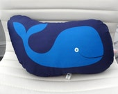 Large Organic Whale Pillow - navy blue, light blue, yellow, gold, modern lumbar, cotton