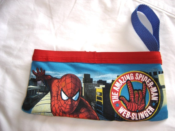 Spider Man Boy Brief Wrist Clutch (blue with red trim)