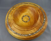 White Birch Platter With Shell Inlay.