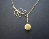 Locket necklace, locket lariat necklace, leaf necklace, locket and leaf branch lariat, wedding jewelry bridesmaid gifts birthday friendship