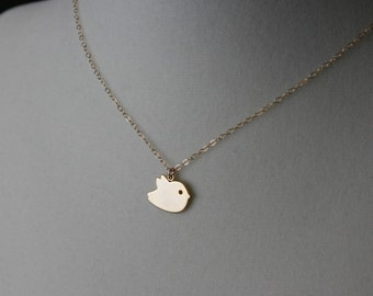 Bird necklace Gold baby bird necklace, bird jewelry, new baby shower gift, mothers day gift, new mom, friendship, birthday, gold necklace