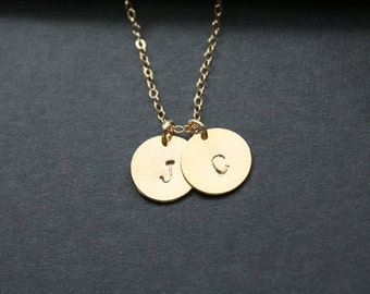 Gold Monogram Necklace, Initial Charm Necklace, Personalized Jewelry Gift, Family Necklace, Couple Necklace, Valentines Mother's Day Gift
