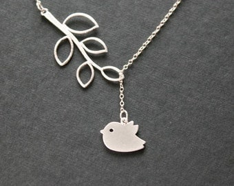 Silver Bird Necklace , Bird and Leaf Necklace , Lariat Bird Jewelry , Y Necklace , New Baby New Mom Gift , Mother's Day Gift , Simple Dainty