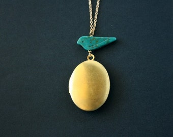 Gold locket necklace, blue turquoise bird necklace - simple dainty everyday gold necklace, family, friendship