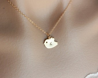Bird Letter Necklace , Personalized Gift Initial Necklace, Bird Necklace , Gold Necklace , Monogram Necklace , Cute Gold Necklace , Charm
