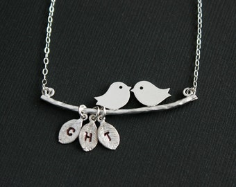Bird necklace, initial necklace - kissing birds on branch, sterling silver, family necklace, birthday, friendship, personalized necklace
