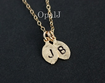 Leaf initial necklace, monogram personalize necklace, two initial leaf charm necklace, leaf necklace, family necklace, bridesmaid gifts