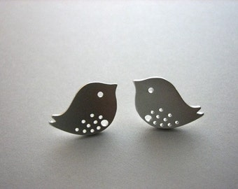 Cute Bird Earrings , Bird Stud Earrings , Love Birds , Friendship Mother Daughter Earrings , Silver