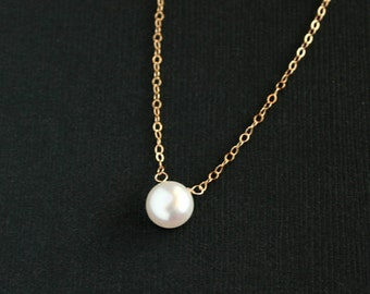 Pearl necklace, Gold filled pearl necklace, gold necklace, bridesmaid gifts, wedding jewelry, mothers day gift, friendship birthday, dainty