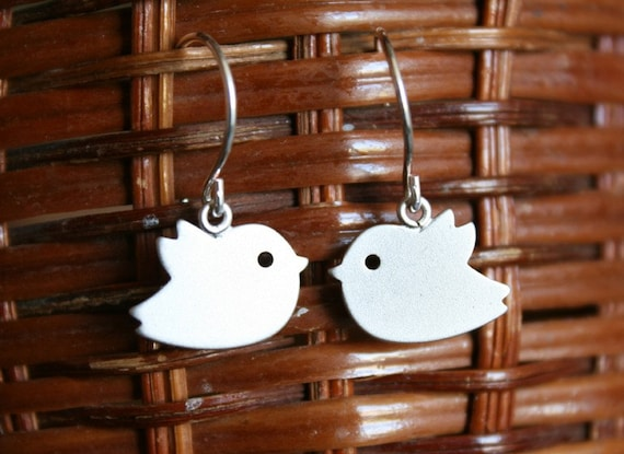 Silver sweet tweeting bird earrings