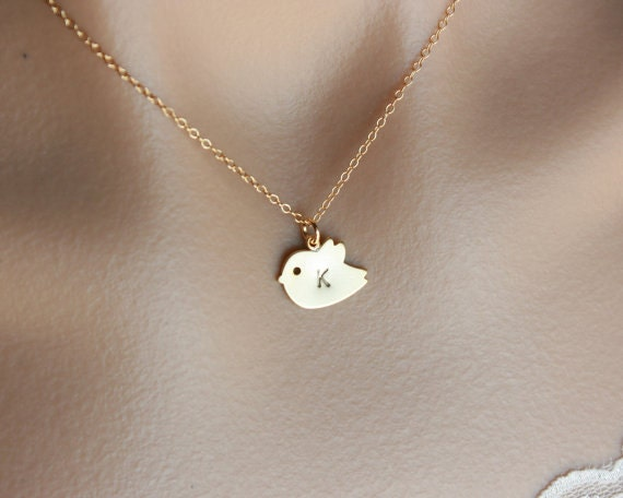 Initial Necklace, Baby Bird Necklace, Gold Filled - personalized necklace gifts, new baby, new mom, bridal gifts,bird jewelry, friendship