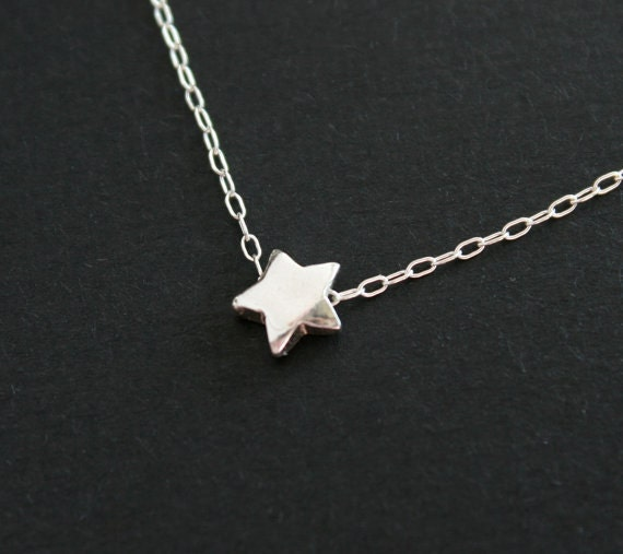 Silver star necklace, sterling silver necklace, puff star jewelry, bridesmaid gifts, everyday wear jewelry, layering, simple dainty necklace