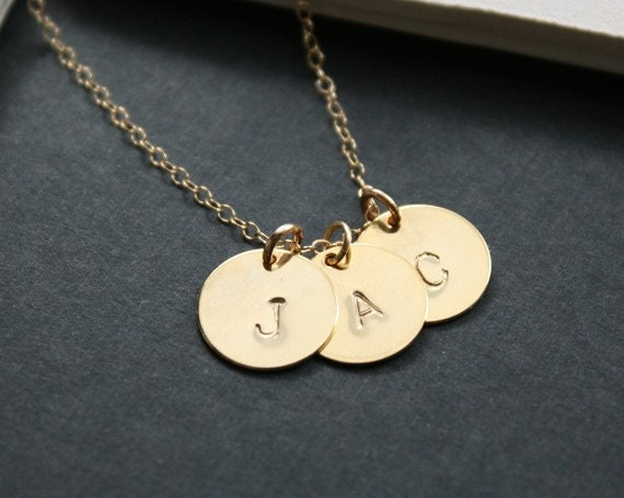 Disc initial necklace, three initials, gold necklace, family necklace, friendship necklace, bridesmaid gifts, new baby shower gifts, new mom