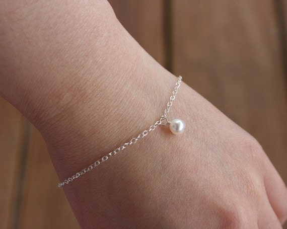 Pearl bracelet, sterling silver, bridesmaid gifts, flower girl bracelet, white pearl jewelry, wedding jewelry, mothers day gifts, friendship
