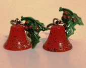 Vintage Holly Berry Bell Earrings - 50% OFF