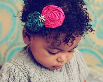Rosette Headband, Baby Vintage Inspired Headband Silk Rosette Fascinator Girls Headband Toddler HeadbandPhoto Prop NO.133