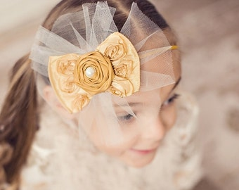 Vintage Inspired Headband Rosette Ribbon Bow with Raw Silk Rosette Center on a Soft Skinny Elastic Headband Fascinator Baby  NO.352