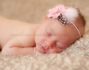 Pink Baby Headband, Baby Vintage Headband Flower Headband with Feather Accent Baby Toddler Teen Women Fascinator Photo Prop  NO. 332