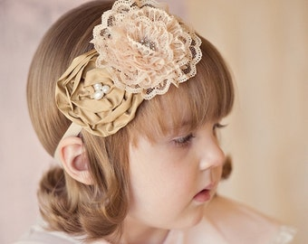 Tan Baby Headband, Vintage Inspired Headband Silk and Lace Rosette Headband Fascinator Baby Toddler Women Headband Photo Prop NO.12-1