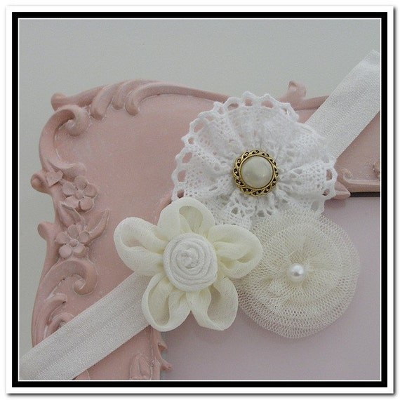 vintage inspired headband chiffon lace and tulle rosette trio vintage inspired headband chiffon lace and tulle rosette trio