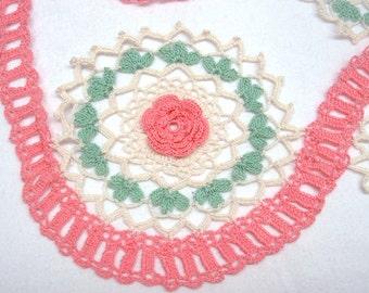 Pair Lace Rosette Motifs Crochet Crocheted Edging Two
