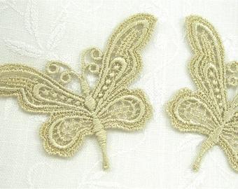 Venice Lace Applique Butterfly PAIR  Butterflies Golden Dyed Motifs