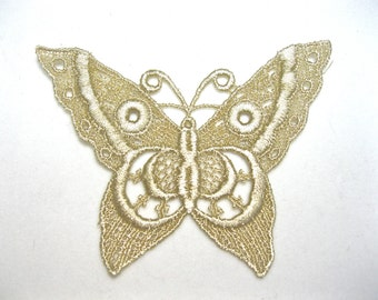 Beautiful Butterfly Venice Lace Applique, Golden Dyed