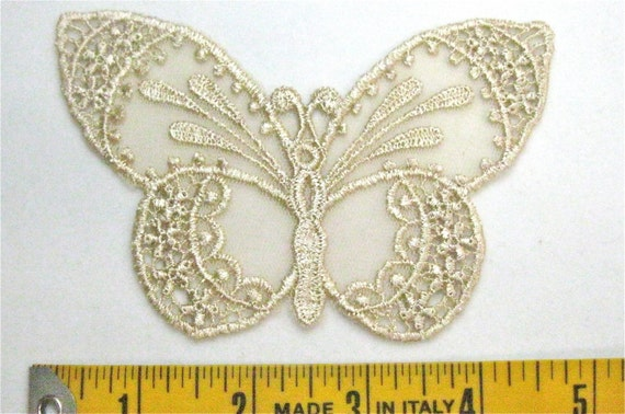 Venice Lace Applique, Butterfly In Netting Venise Motif Great for Clothing Embellishment