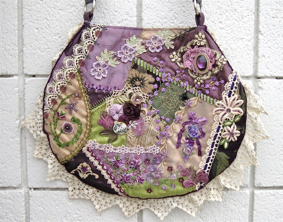 Purse Crazy Quilt Handbag Embroidery Beads With Vintage Lace Hand Made