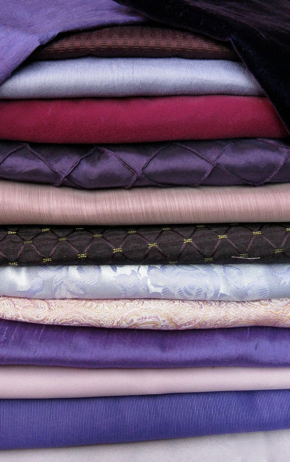 PURPLES Fabric Pack 6 Pieces Crazy Quilting Beautiful Textures