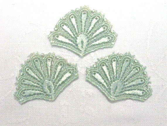 Venice Lace Fan Motif Peacock Tail Applique Set of 3 TEAL Aqua Great for Crazy Quilting