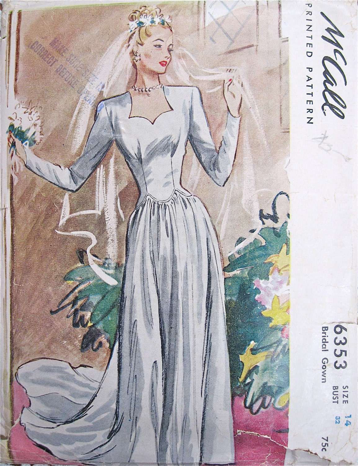 Bridal pattern vintage mccalls 6353 gown dress 1940s complete for 1940s wedding dress patterns