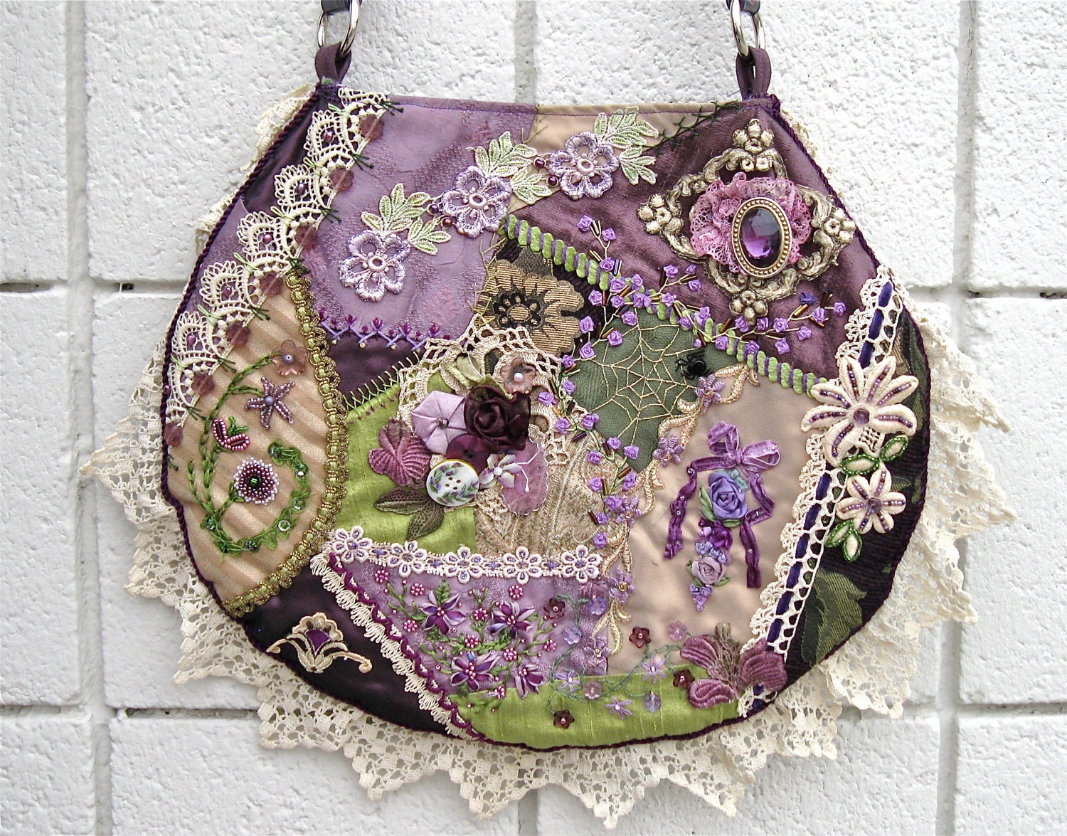 Purse Crazy Quilt Handbag Embroidery Beads With Vintage Lace