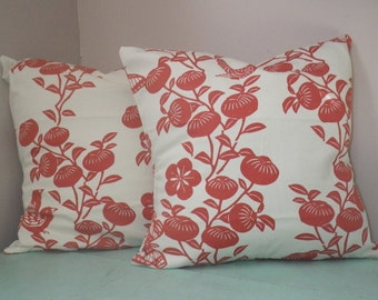 Floral Print, Spice Orange, SALE, Two 16x16 Pillow Covers, Ready to Ship, By Sew Custom Designs