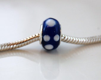 Blue and White Dotted Pandora Style Lampwork Bead